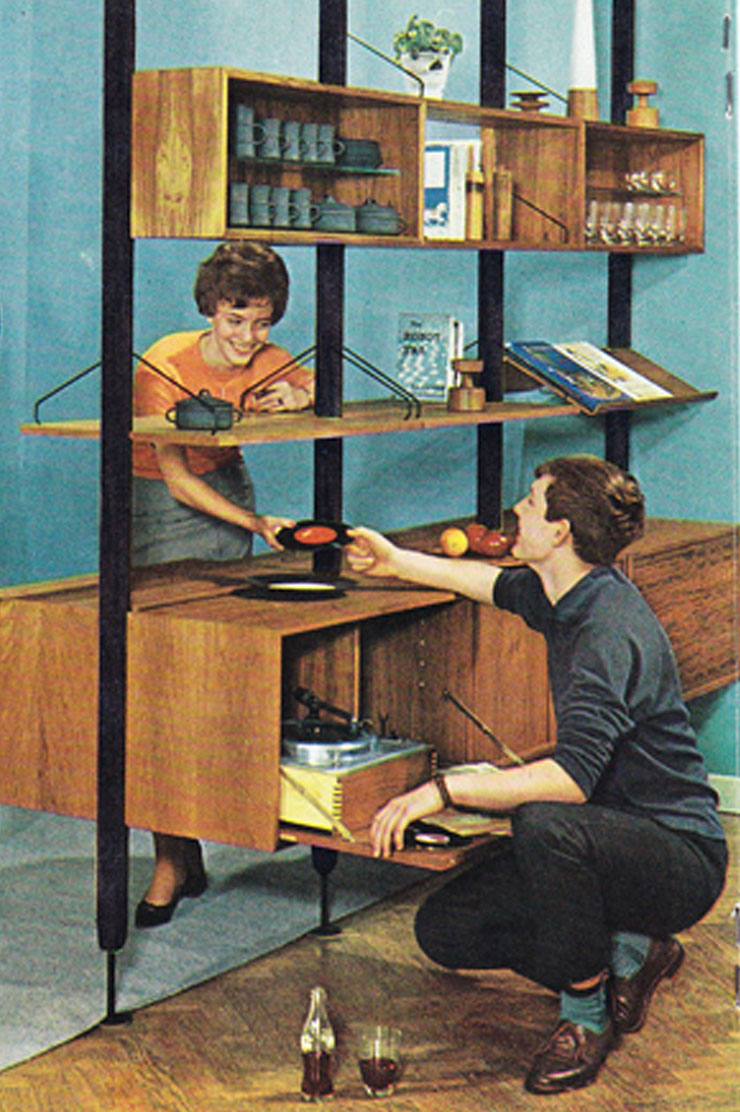 A 1950s illustration of 2 people selecting records to play.