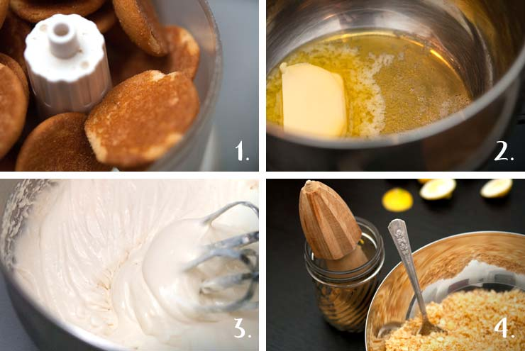 A step by step montage showing how to make the mousse and cookie crumbles.