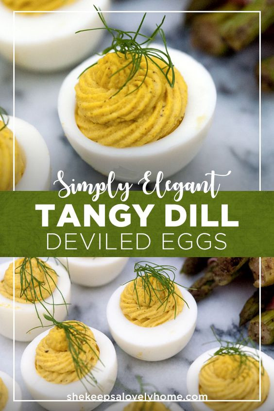 These dill deviled eggs are delightfully tangy and so very simple to prepare! All you need is a little dill mustard, creamy horseradish and mayo to whip up these tasty little conversation pieces. #deviledeggs