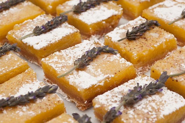12 lavender lemon bars on a white marble table garnished with fresh lavender and powdered sugar.