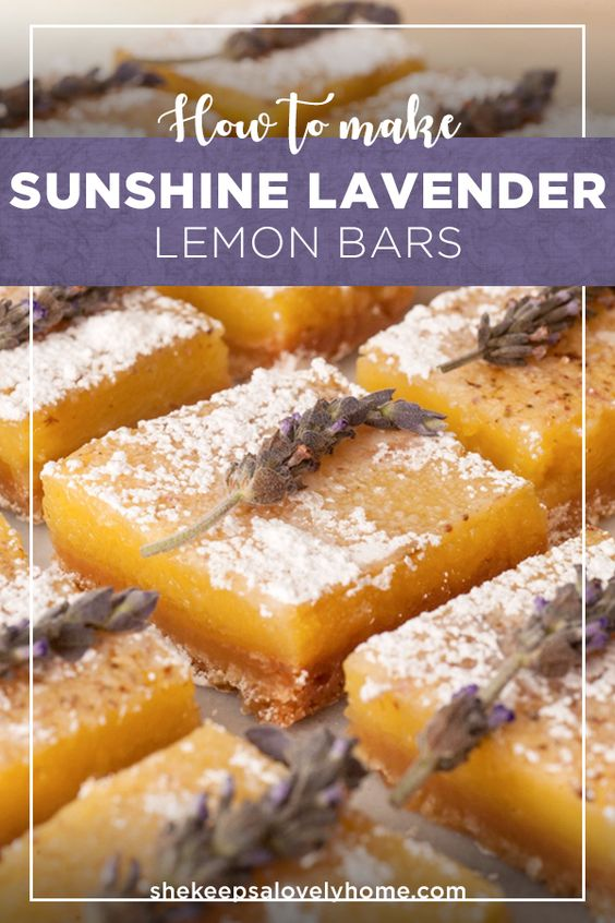 These enchanting sunshiny lavender lemon bars will become your favorite dessert to serve at any summer party! #lavender, #lemonbars, #recipe, #dessert, #picnicfood
