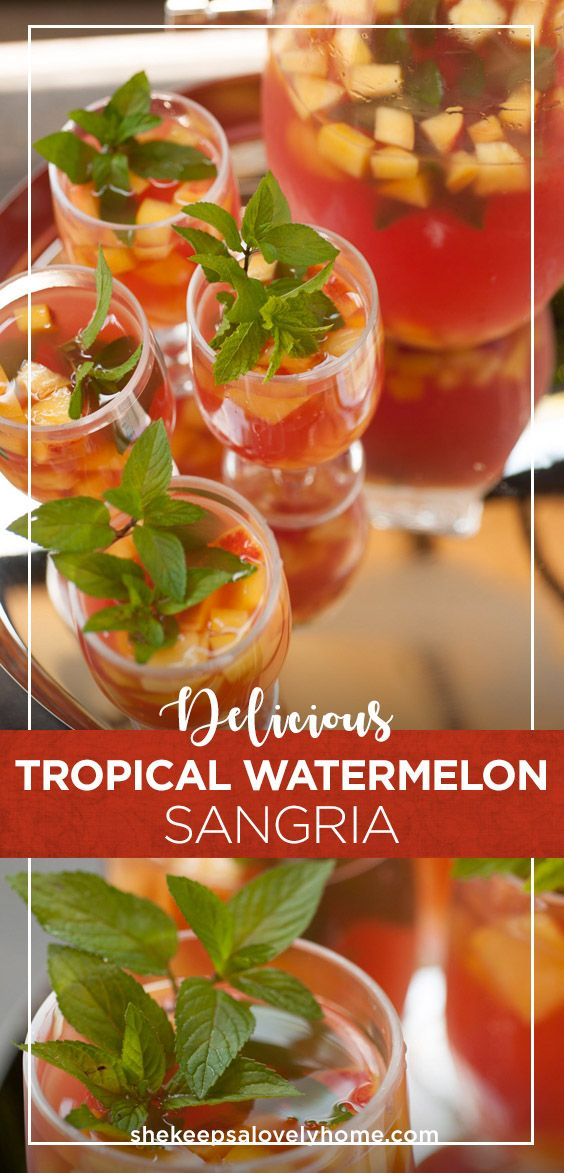 This tropical watermelon sangria is like a Hawaiian vacation in a glass! Fresh squeezed watermelon juice, coconut and sparkling citrus flavors make this a perfect pool party signature cocktail. #cocktails, #sangria