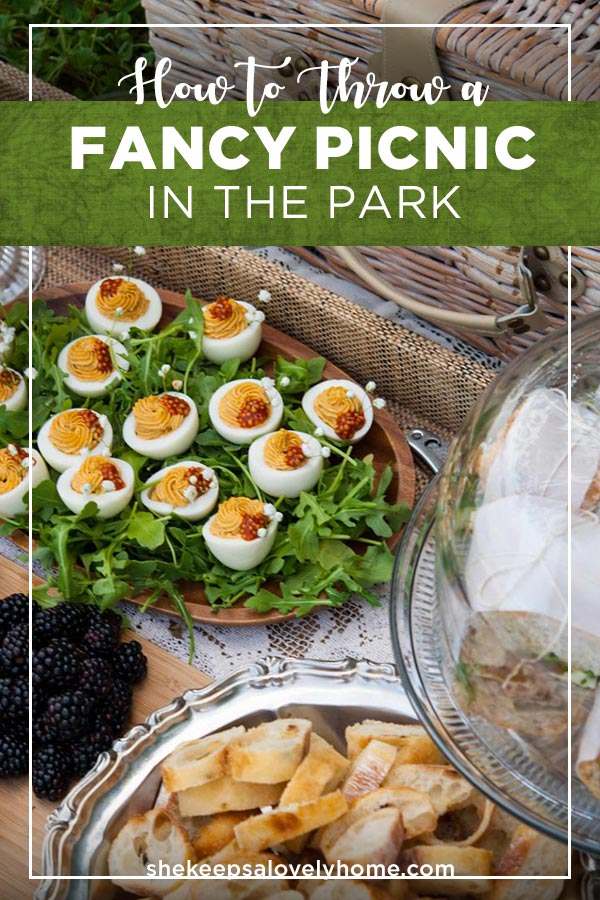 It's easy to throw a fancy picnic in the park! All you need are some tasty treats, refreshing drinks, a picnic basket and some strategically placed doilies and lace. #picnic, #entertaining, #deviledeggs, #appetizers, #pretty, #summer