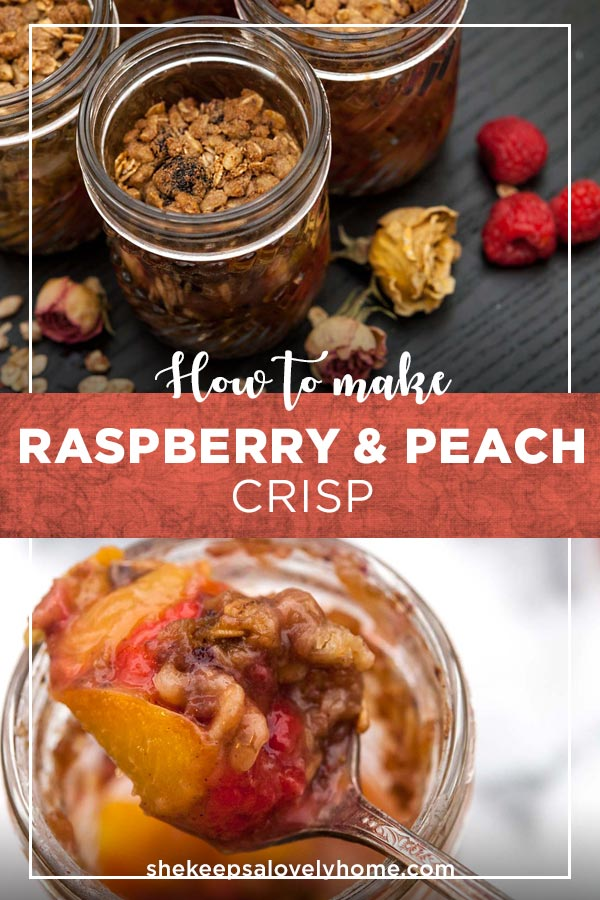 This layered raspberry & peach crisp is bursting with sunny, summer, tart and sweet flavors. #peach, #raspberry, #dessert, #picnicfood, #picnic
