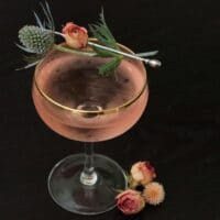 A pink cocktail on a table, garnished with a rose and thistle, with roses at its base.