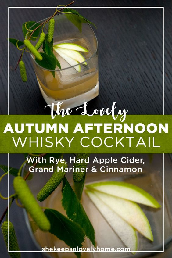 This whisky cocktail is like an orchard of apples and oranges on a crispy, sunny afternoon, made with rye, hard apple cider, Grand Marnier and cinnamon. #cocktails, #whisky, #cider, #refreshing