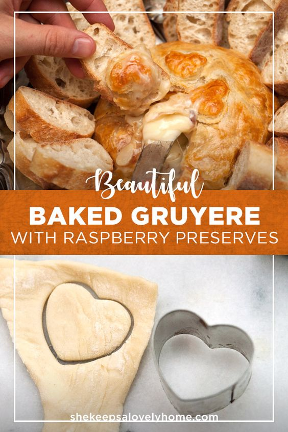 You'll want to serve this beautiful baked Gruyère in something that can catch all the oozy, cheesy goodness, and a side of sliced baguette. #recipe, #appetizer, #cheese