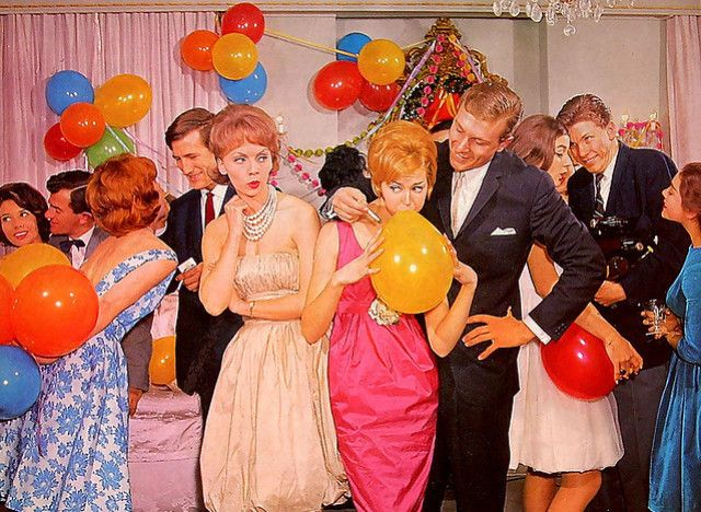 A Norman Rockwell illustration of 1950's party: a man is holding his cigarette close to a ballon while a woman watches on with scorn.