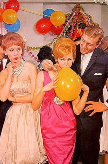 An illustration of 1950's party: a man is holding his cigarette close to a ballon while a woman watches on with scorn.