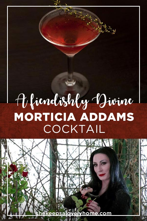 This crimson, creepily classy Morticia Addams Cocktail is made with sake, hard cider and a devilishly delightful hibiscus liqueur called Sorel. #halloween, #cocktails, #goth, #sake, #morticiaaddams, #addams, #gothic