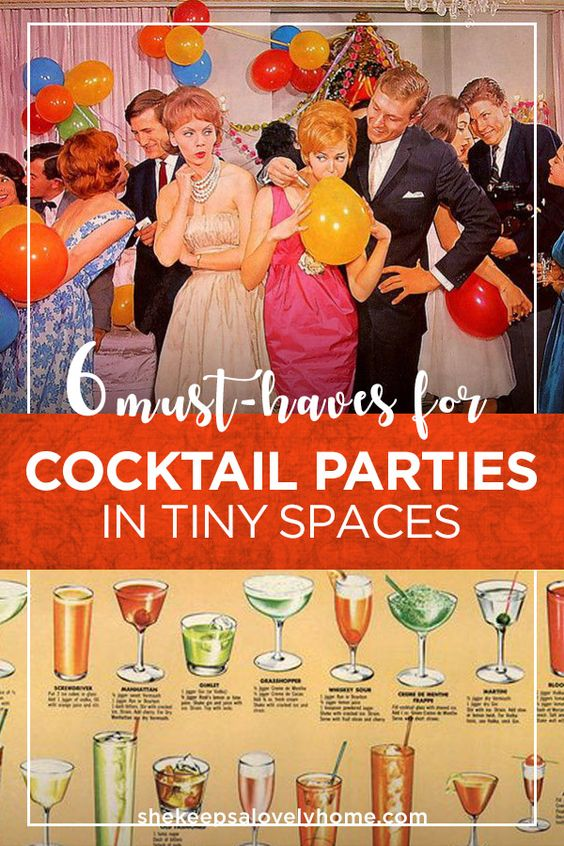 These are my must-have essentials and tips if you want to throw a glittering cocktail party in a teeny, tiny space. #cocktails, #cocktailparty