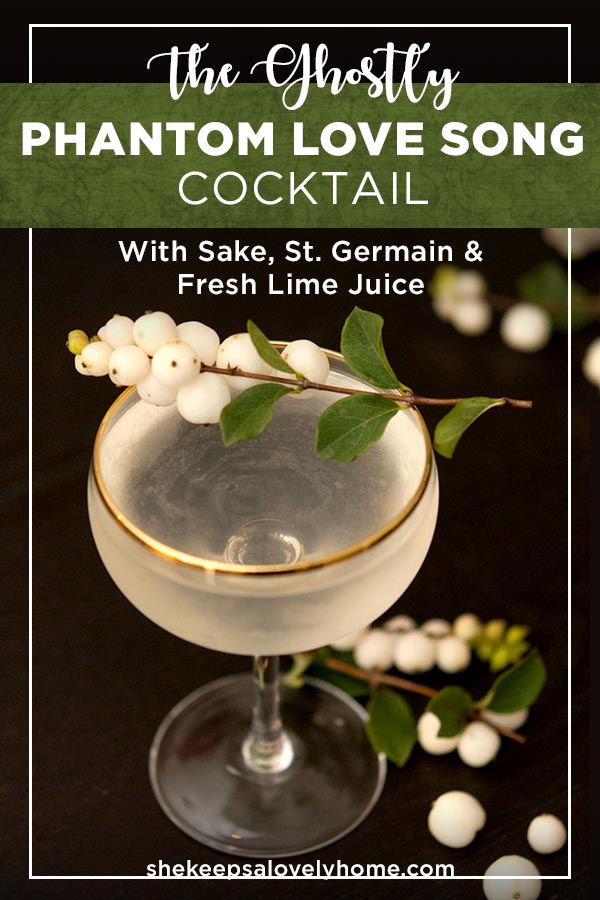 This eerily romantic Phantom Love Song sake cocktail is essentially a French Gimlet that's smoother, more delicate and perfect for an elegant Halloween party!  #cocktails, #halloween, #sake