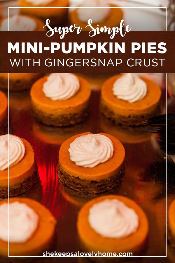 These teeny, tiny super simple mini-pumpkin pie appetizers are so dreamy, creamy and perfect for a sweet, Halloween dessert hors d'oeuvre. #pumpkinpie, #desserts, #thanksgiving