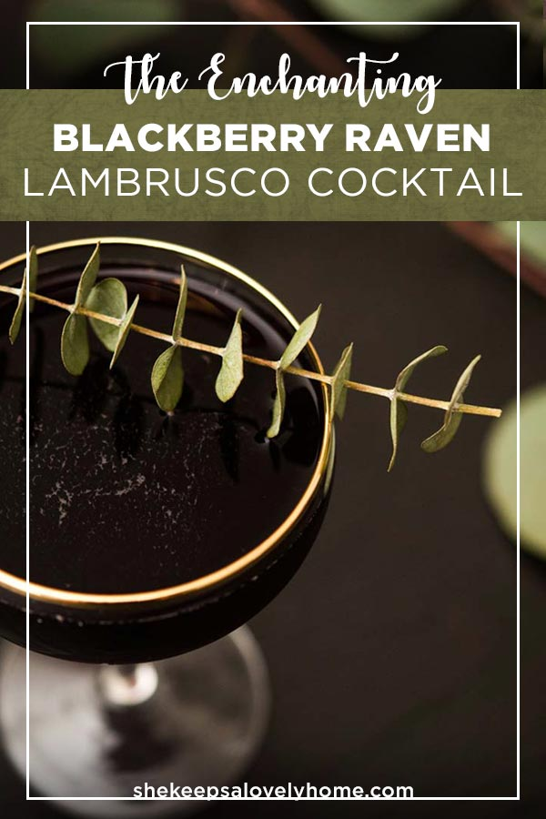 This Blackberry Raven lambrusco cocktail is a little sparkly, a little sweet and perfect for a spooky Halloween signature! #cocktails, #halloween, #lambrusco