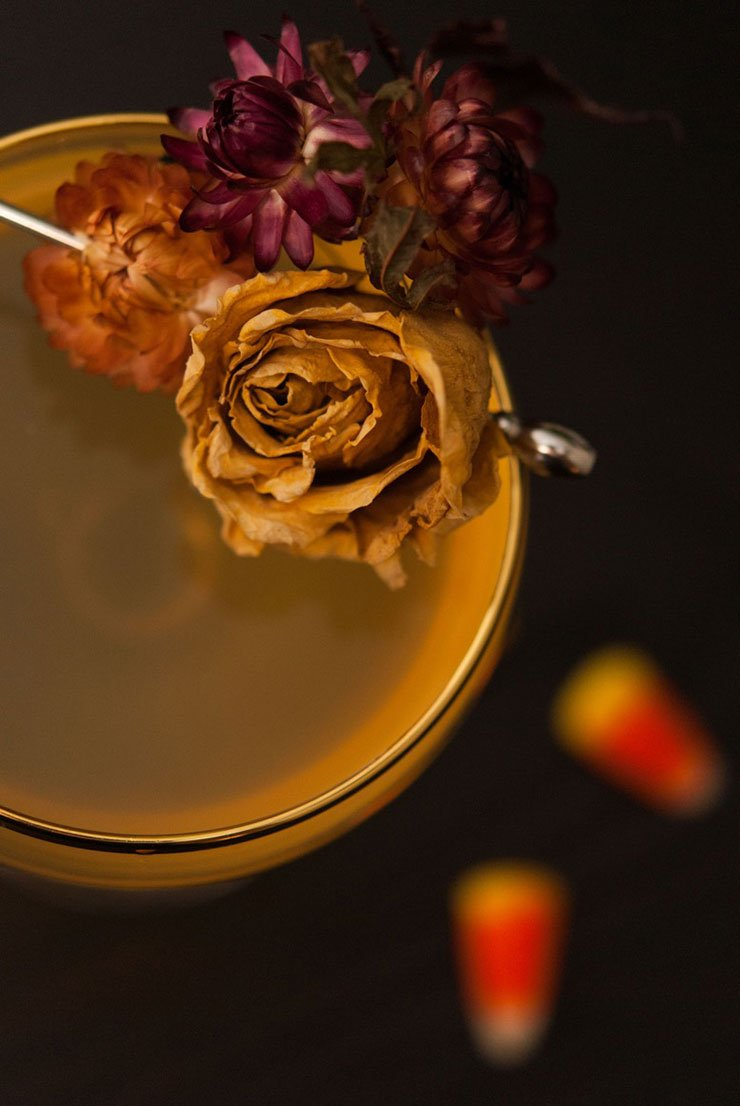 A dried rose garnish on the edge of a cocktail.