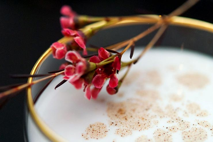 A closeup of a white cocktail with a gold rim, garnished with spice and small flowers.