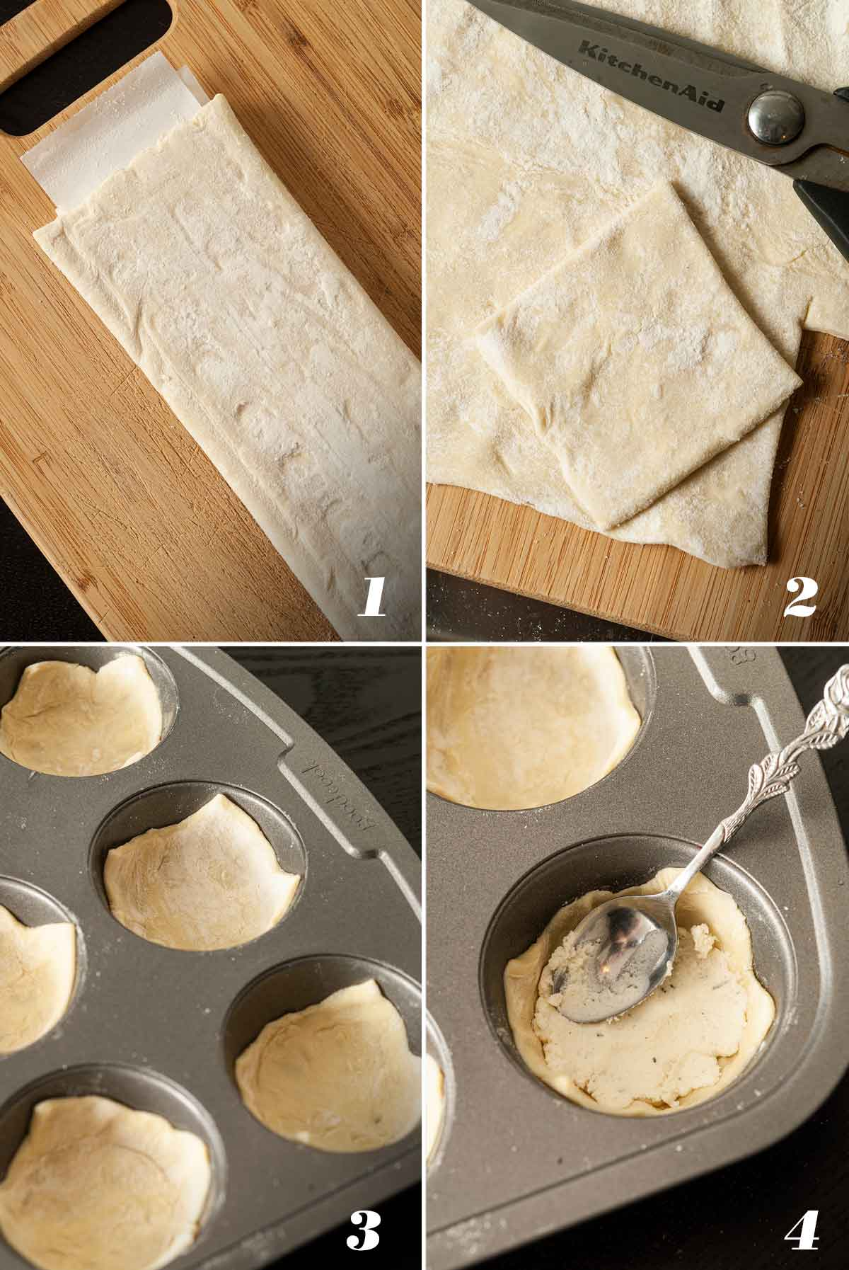 A collage of 4 numbered images showing how to cut and place puff pastry in cupcake tins.