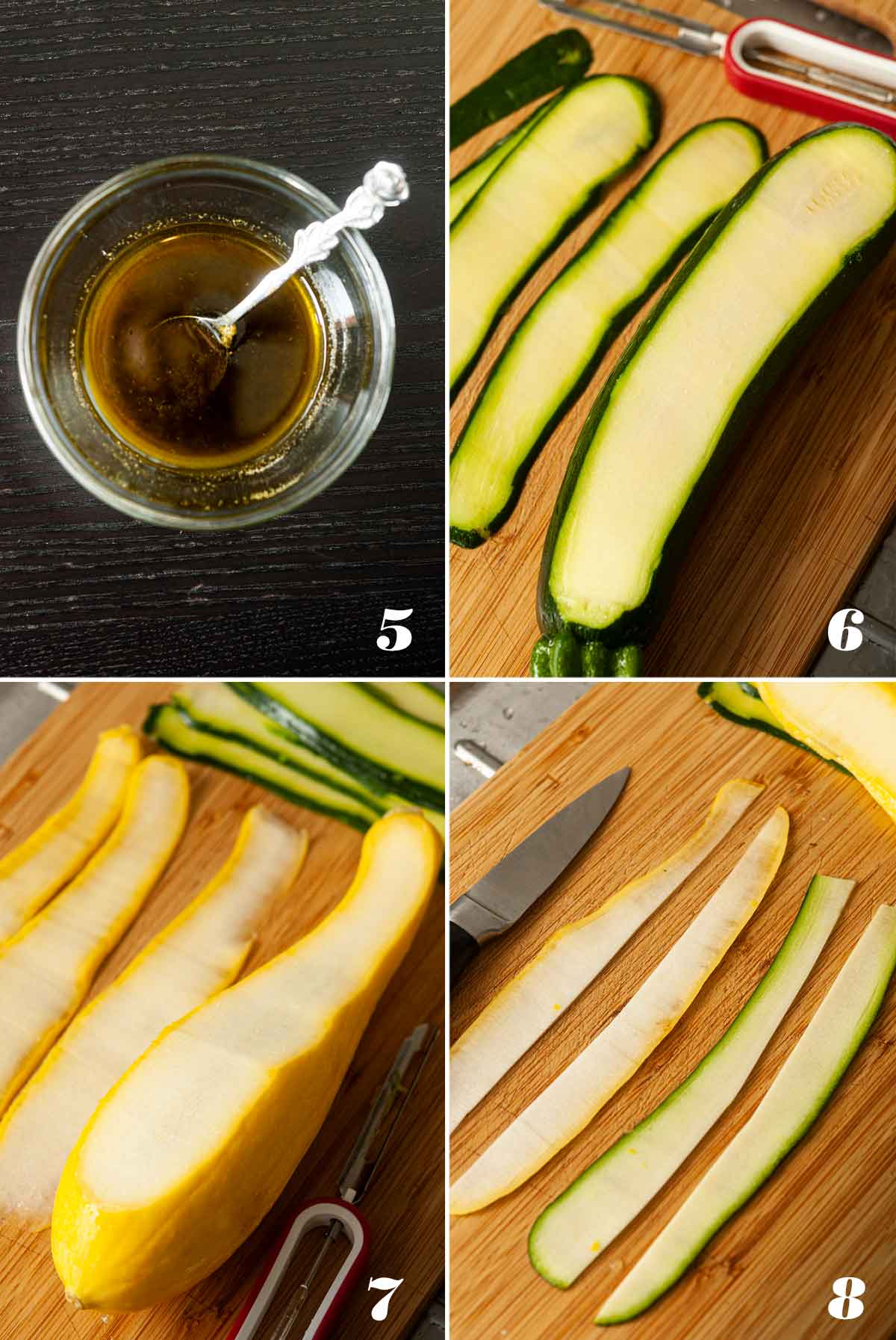 A collage of 4 numbered images showing how to prepare zucchini.