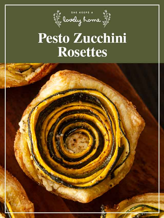 "A zucchini rosette with a title that says ""Pesto Zucchini Rosettes."""