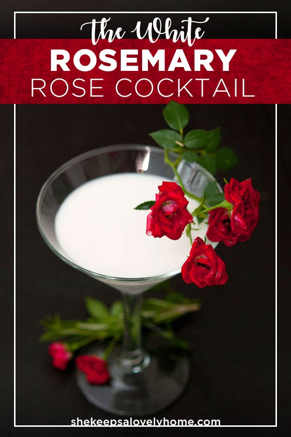 With coconut, rosemary and rosewater, this White Rosemary Rose cocktail tastes like winter white magic! It's one of those drinks where once you have one, you immediately need another! #cocktails