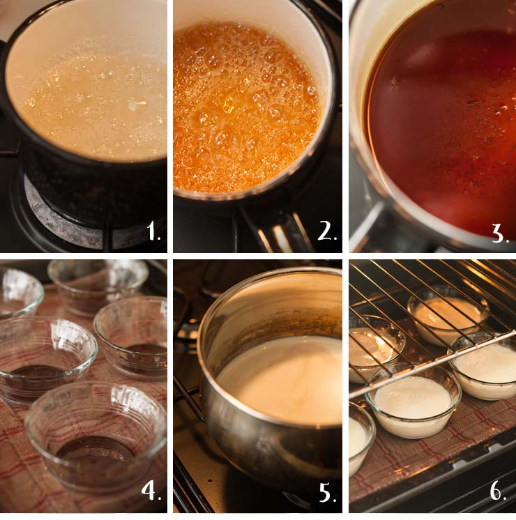 A step by step image showing the process of making flan.