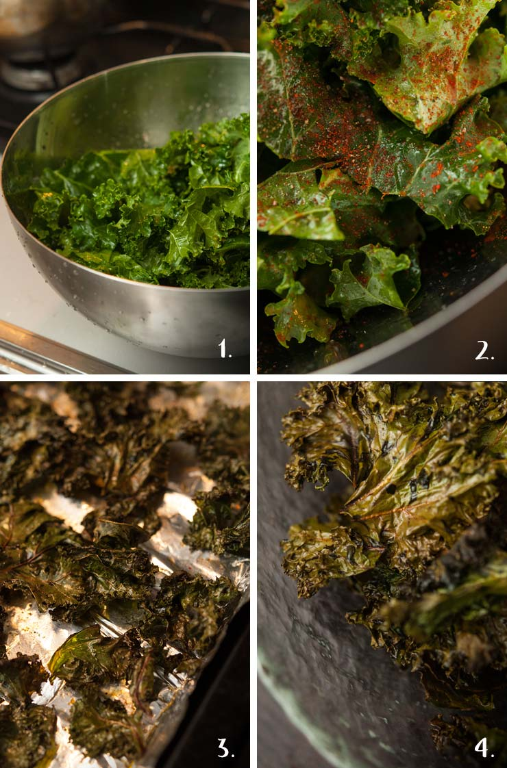A step by step image, showing kale that is uncooked, seasoned, cooked and finished in a bowl.