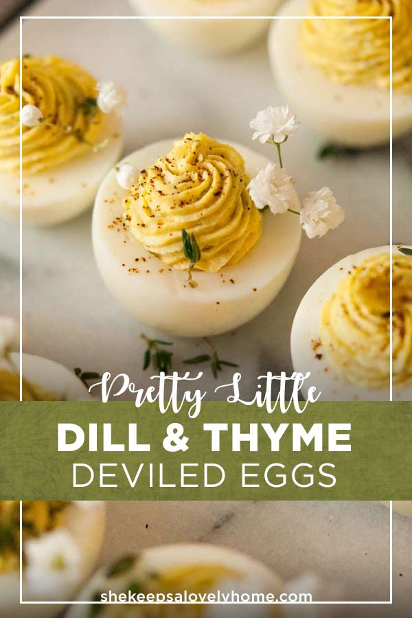 These deviled eggs have a fresh, herbal taste of dill and thyme that gives them a special little spring garden flair. #deviledeggs, #appetizers