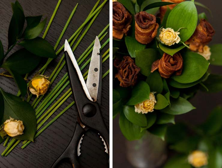 An image of kitchen scissors next to green skewers, leaves and yellow roses on a black table beside an image of a bacon rose bouquet.