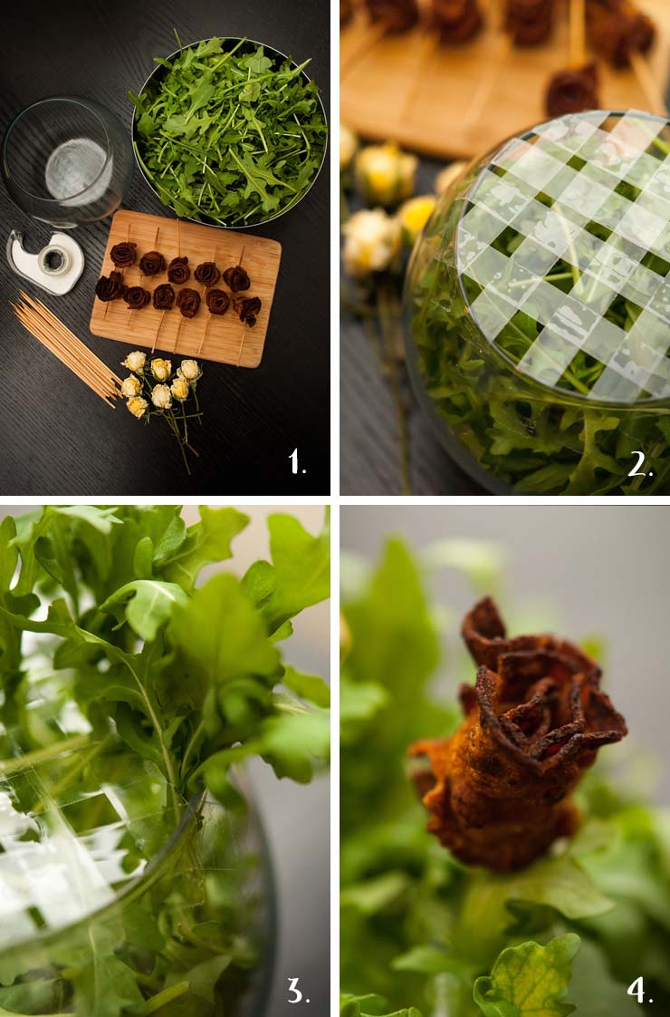 A step by step montage of how to make an edible bacon bouquet.