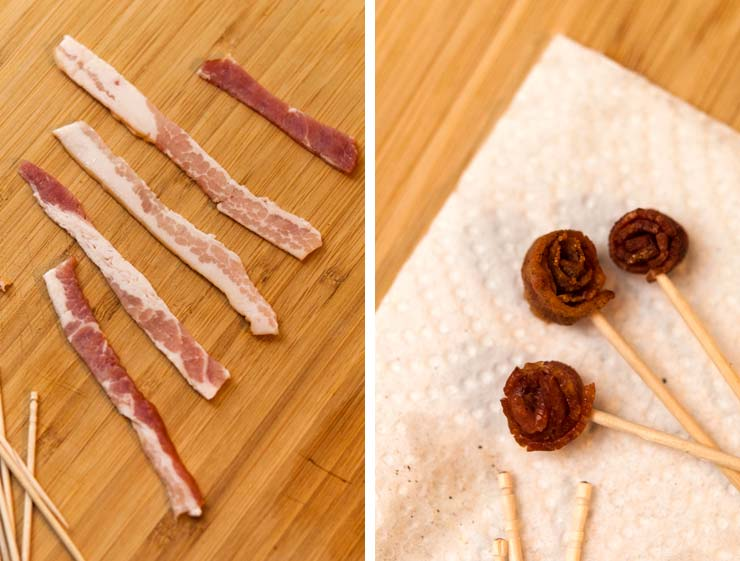 An image of tiny strips of raw bacon on a wooden board next to an image of cooked bacon roses on a paper towel.