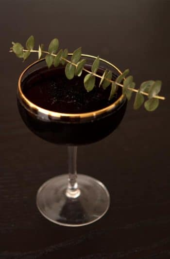 A cocktail garnished with Eucalyptus.
