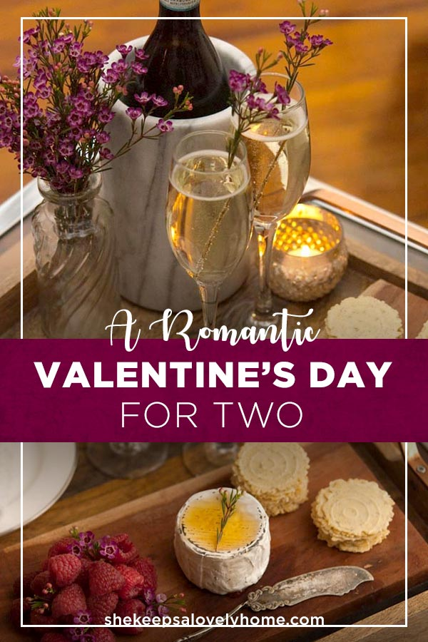 Why not create a romantic Valentine's Day at home for you and your sweetheart? It's so simple and such a lovely surprise! #cocktails, #cocktailparty, #flowers, #cheeseplate