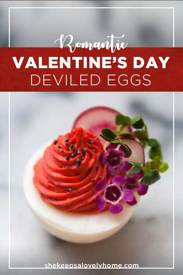 Want to create the prettiest Valentine's Day deviled eggs? All you need is some mustard, mayo, creamy horseradish and a little drop of dye or all-natural beet juice color.#deviledeggs, #valentinesday