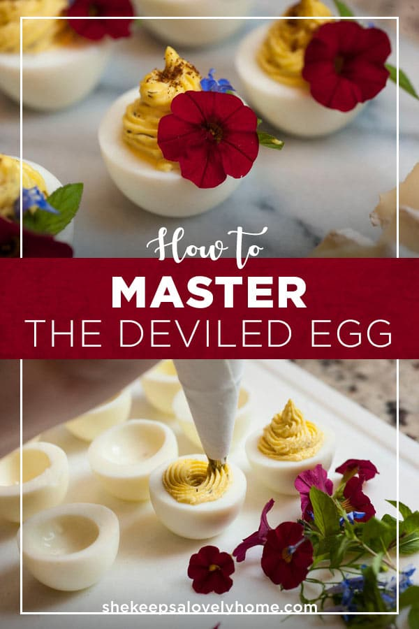 With this recipe, you'll master the techniques of crafting the best, most perfectly elegant deviled eggs from boiling, to peeling to garnishing with flair. #deviledeggs, #appetizers