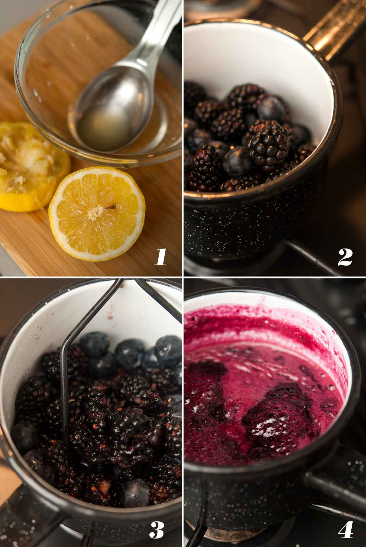 A collage of 4 numbered images showing how to make black and blueberry jam.
