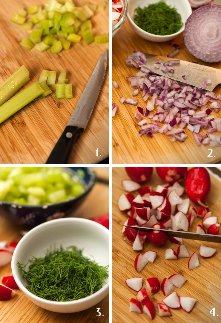 A step by step image showing celery, onion and radish chopping, as well as a bowl of fresh dill.