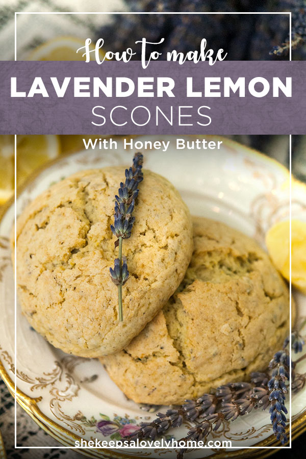 These lavender lemon scones with honey butter are fluffy, crumbly, divinely flavored and perfect for a Sunday brunch or cozy tea time. #scones, #brunch, #afternoontea, #teaparty, #sconerecipe