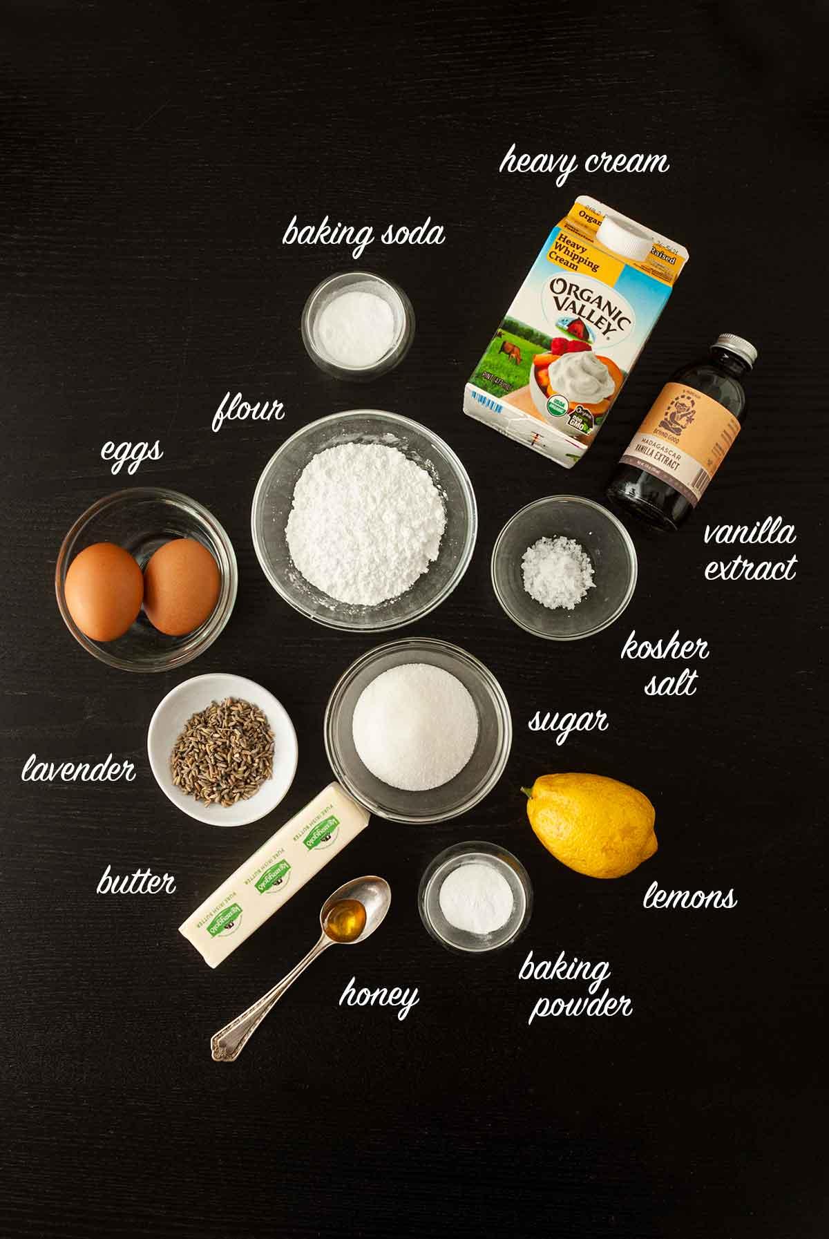 Ingredients on a table that make lavender lemon scones.