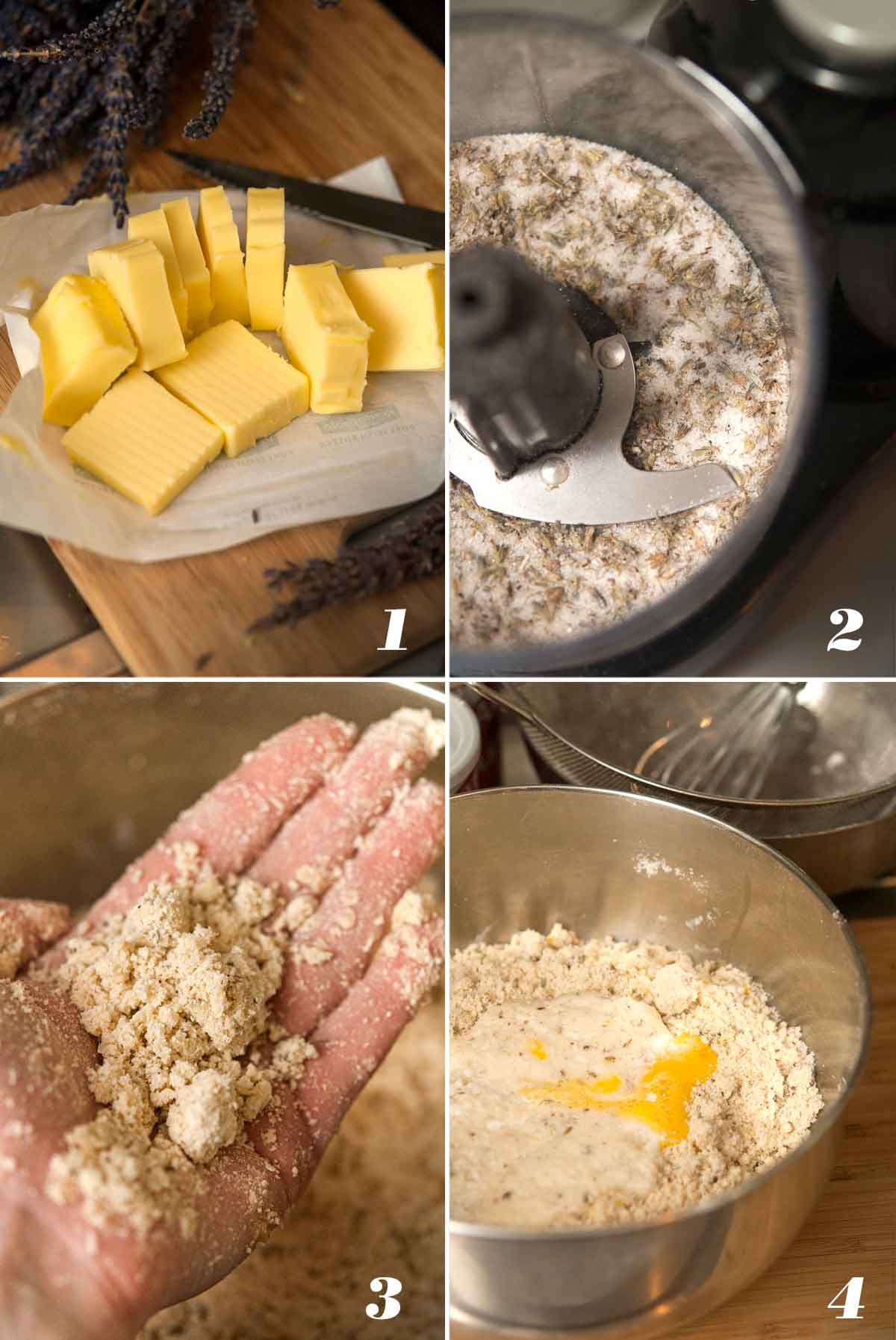 A collage of 4 numbered images showing how to make lemon lavender scones.