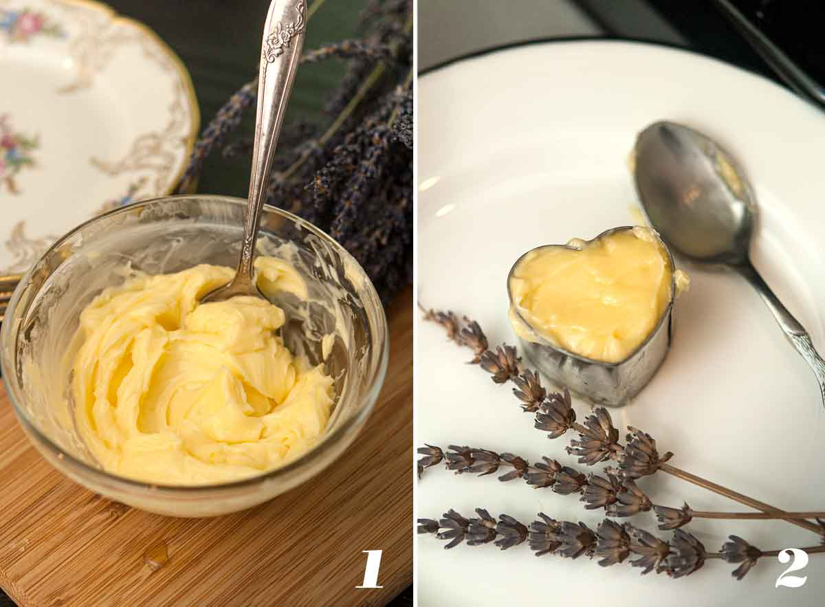 2 numbered images showing how to make honey butter.