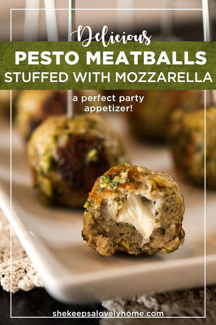 These incredible Italian turkey meatballs with homemade pesto and mozzarella will become everyone's favorite appetizer at the party! This recipe is so simple and SO delicious! With melted cheese centers and that fresh, Italian pesto flavor, these perfect little appetizers make such an enticing hors d'oeuvre. They're also gluten-free! #appetizers, #gluten-free, #pesto, #meatballs