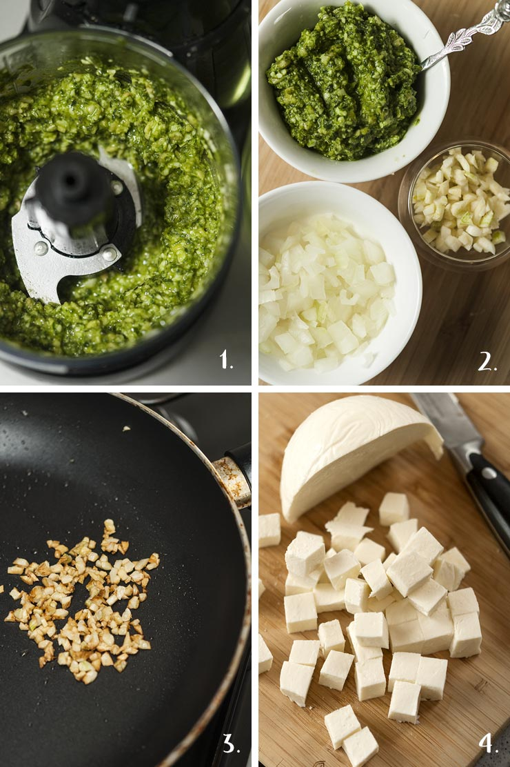 A collage of 4 numbered images showing how to make pesto, toasting garlic and cubbing cheese.