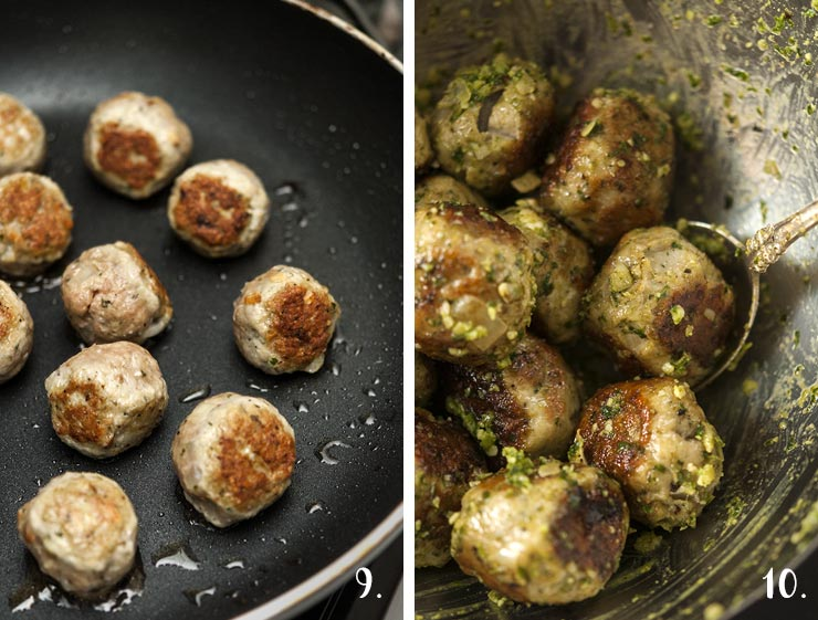 A step by step process showing browning meatballs in a pan and rolling them in pesto.
