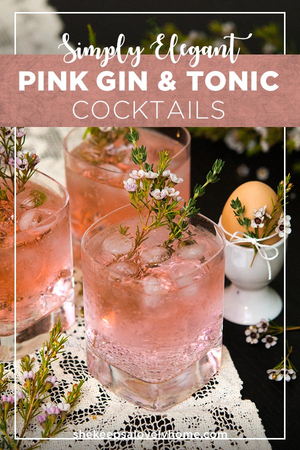 These pink gin and tonics are perfect for a baby or bridal shower, elegant brunch or any time you just want to feel a little lady-like. #cocktails, #babyshower, #bridalshower, #summercocktails, #brunchcocktails, #pink