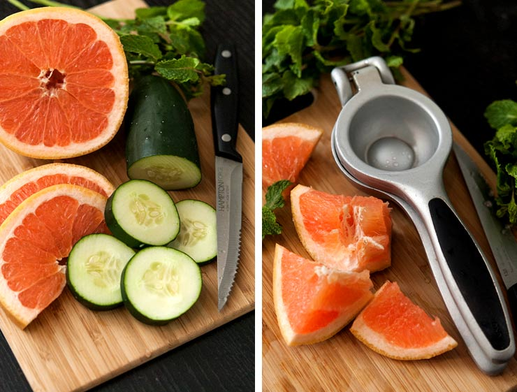 2 photos, side by side, of cut pink grapefruit and cucumber on a cutting board, surrounded by mint. One photo includes a juicer.
