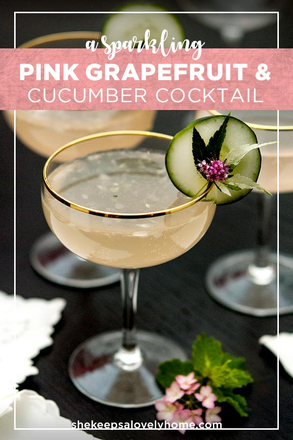 This exquisite pink grapefruit cocktail is shaken with muddled cucumber and mint, splashed with soda and pairs perfectly with summer sunsets. #cocktails, #pink, #cucumber, #cocktailrecipe