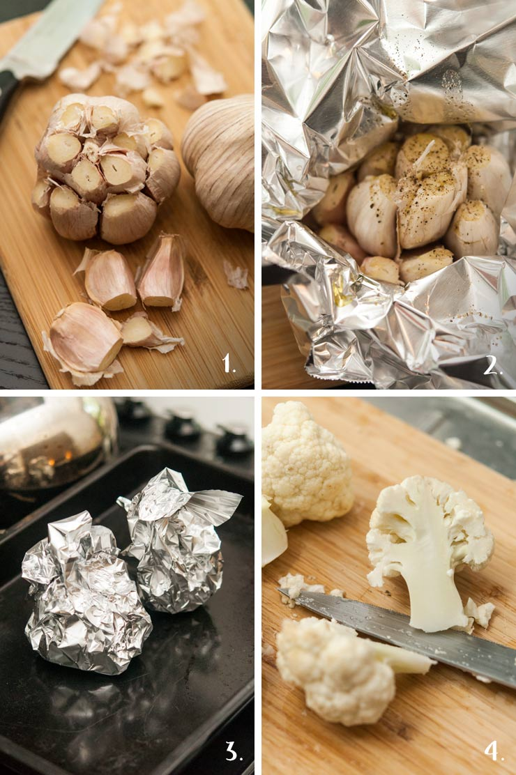 A collage of 4 numbered images showing how to roast garlic and slice cauliflower.