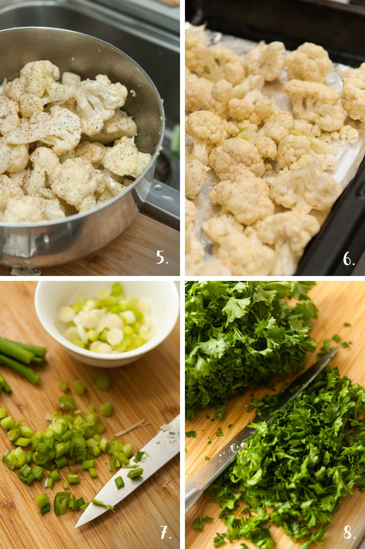 A collage of 4 numbered images show how to chop herbs and cauliflower.