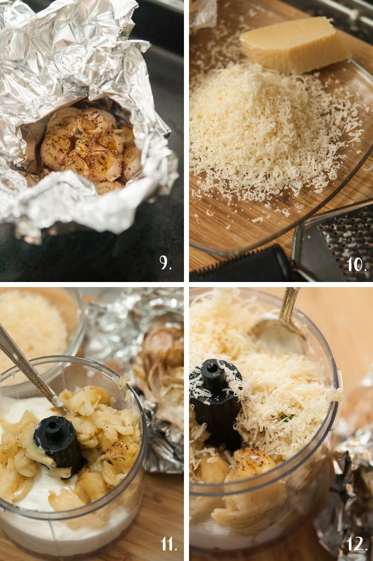 A collage of 4 numbered images showing adding roasted garlic to a food processor with sour cream and parmesan.
