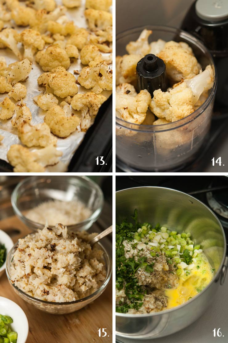 A collage of 4 numbered images showing chopping cauliflower in a food processor and mixing ingredients in a bowl.